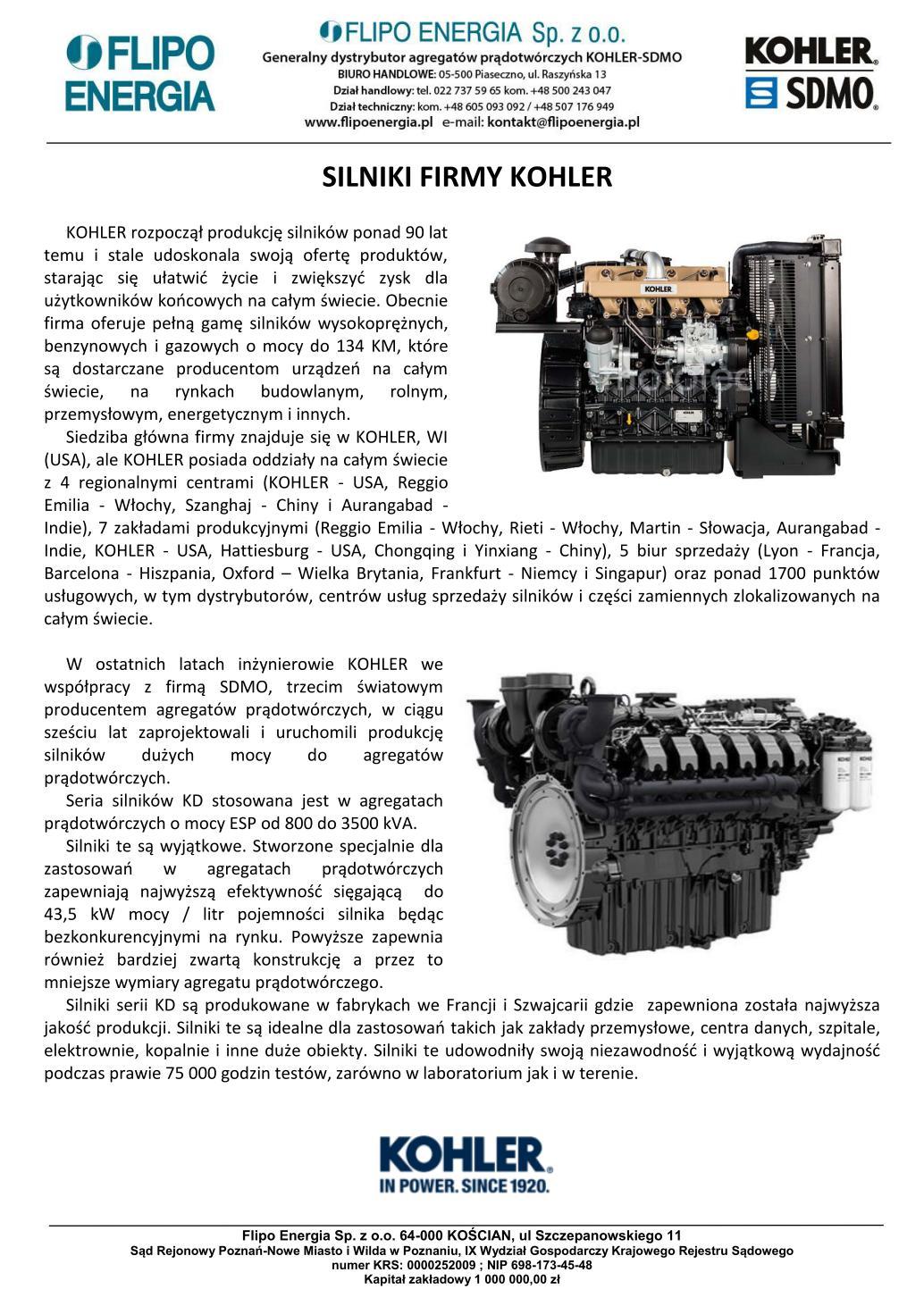Silniki Kohler - krątka historia - 20200831
